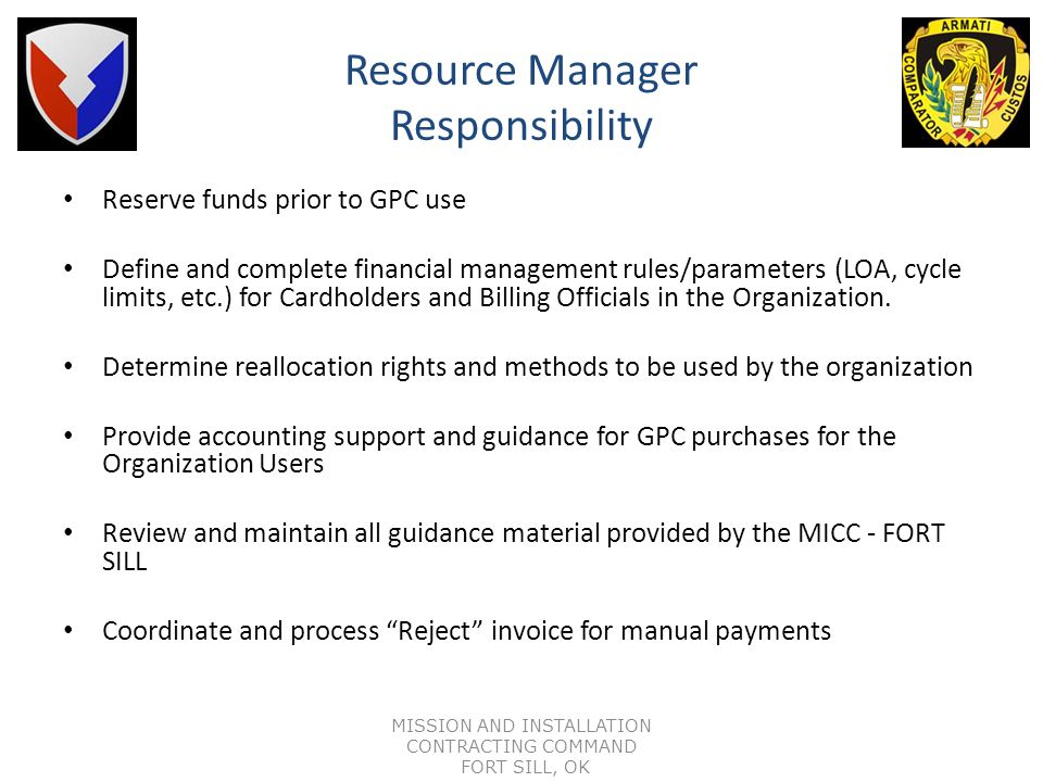 Resource Manager Responsibility