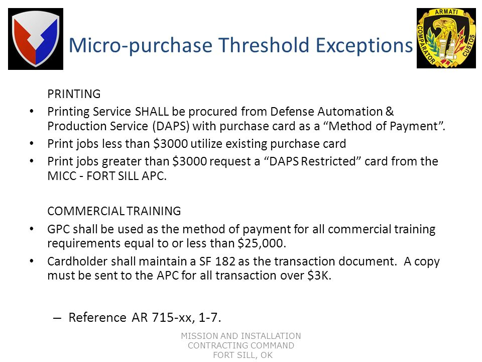 Micro-purchase Threshold Exceptions