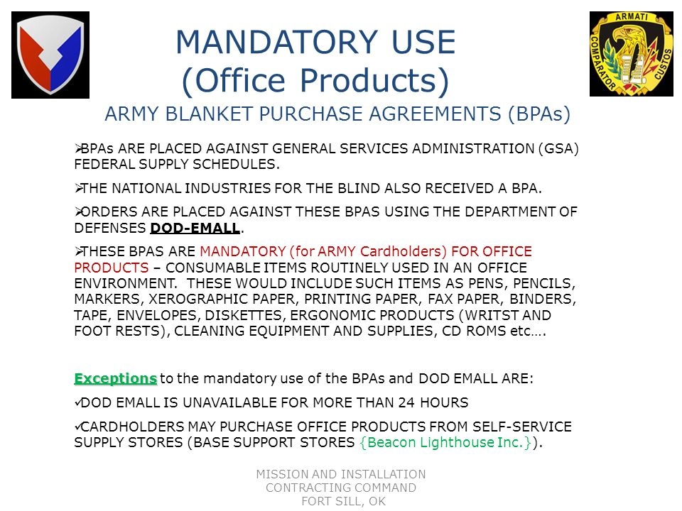 MANDATORY USE (Office Products)