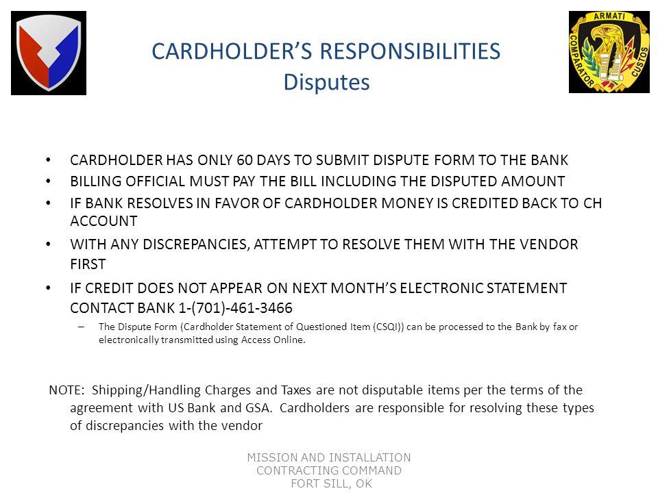 CARDHOLDER'S RESPONSIBILITIES Disputes