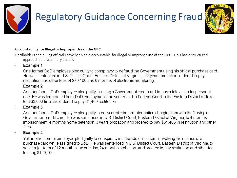 Regulatory Guidance Concerning Fraud
