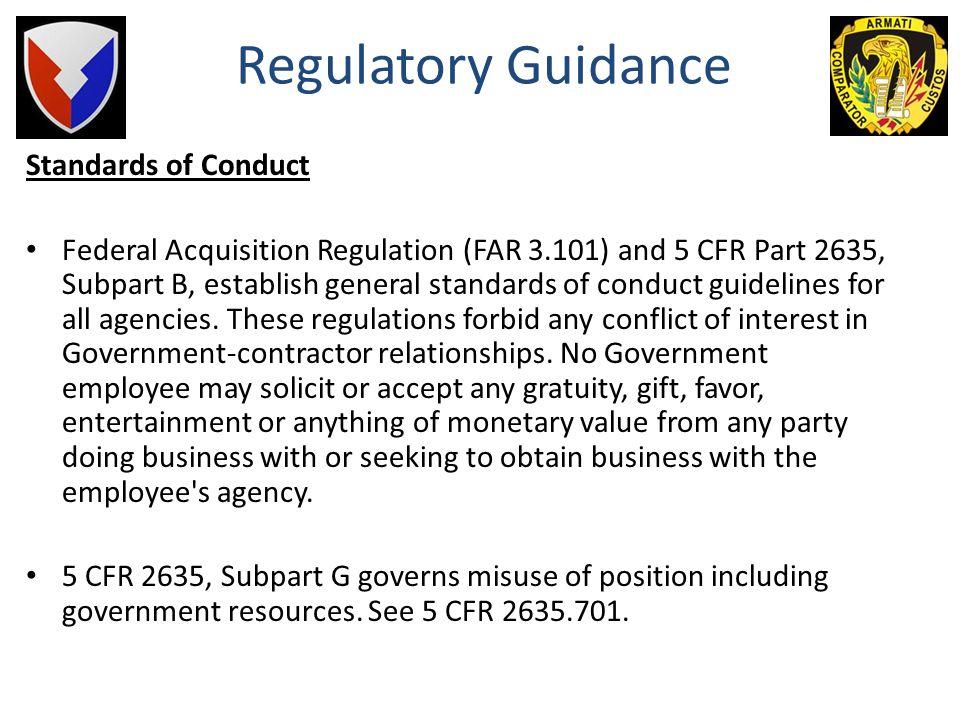 Regulatory Guidance Standards of Conduct