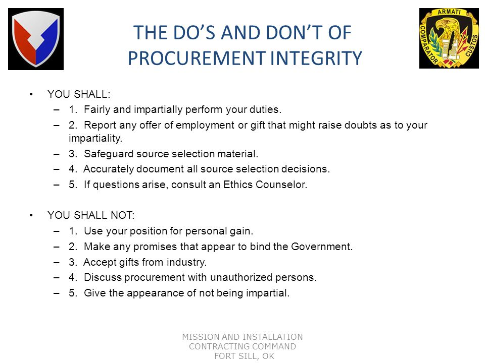 THE DO'S AND DON'T OF PROCUREMENT INTEGRITY