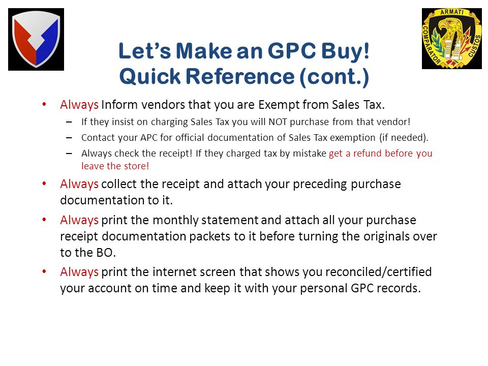 Let's Make an GPC Buy! Quick Reference (cont.)