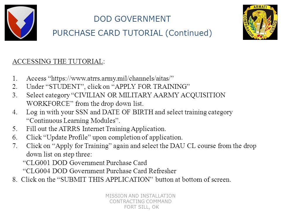 PURCHASE CARD TUTORIAL (Continued)