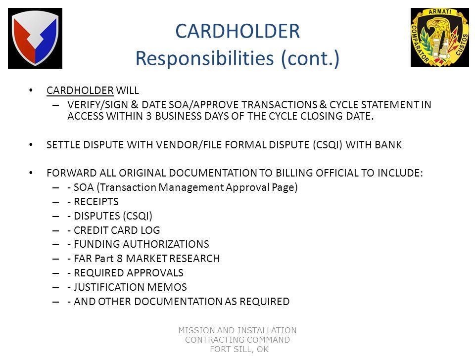 CARDHOLDER Responsibilities (cont.)