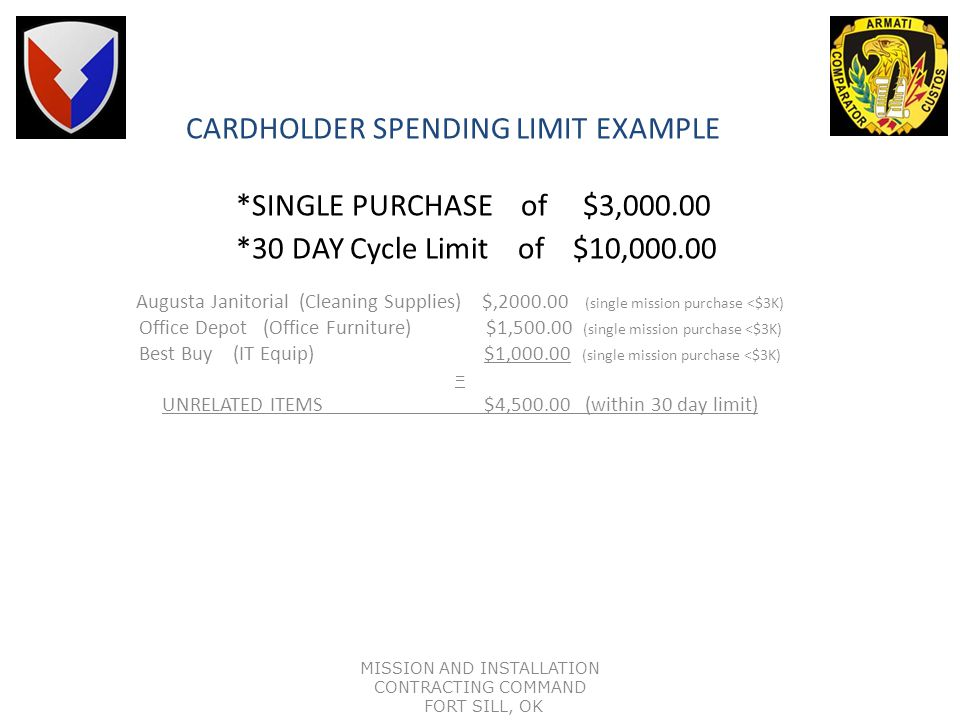 CARDHOLDER SPENDING LIMIT EXAMPLE. SINGLE PURCHASE of $3,000. 00