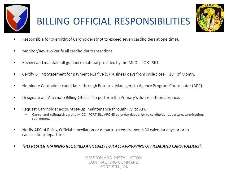 BILLING OFFICIAL RESPONSIBILITIES