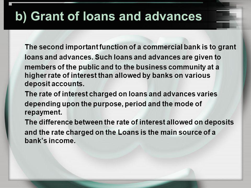 b) Grant of loans and advances