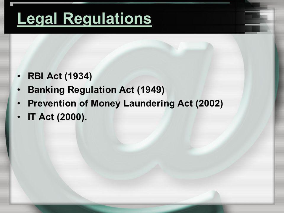 Legal Regulations RBI Act (1934) Banking Regulation Act (1949)