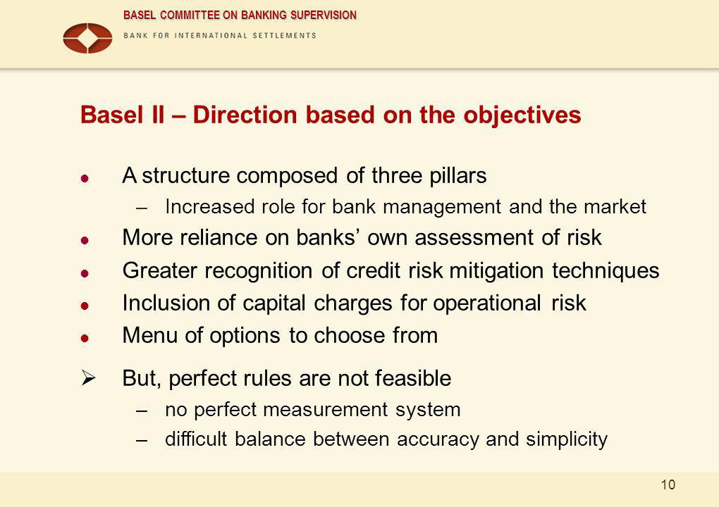 Basel II – Direction based on the objectives