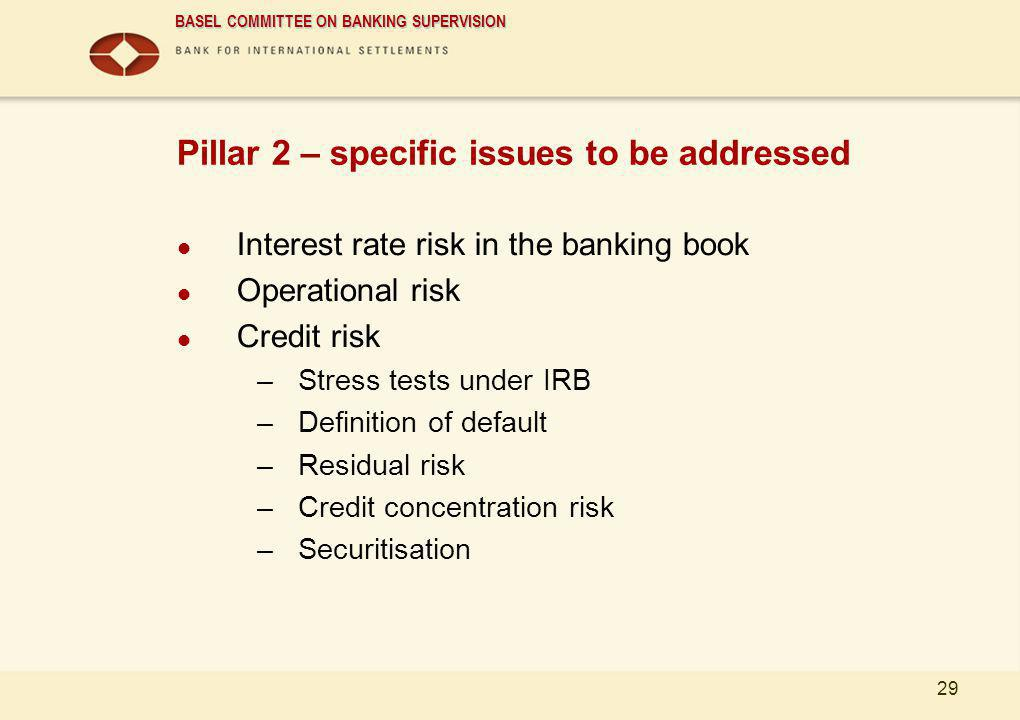 Pillar 2 – specific issues to be addressed
