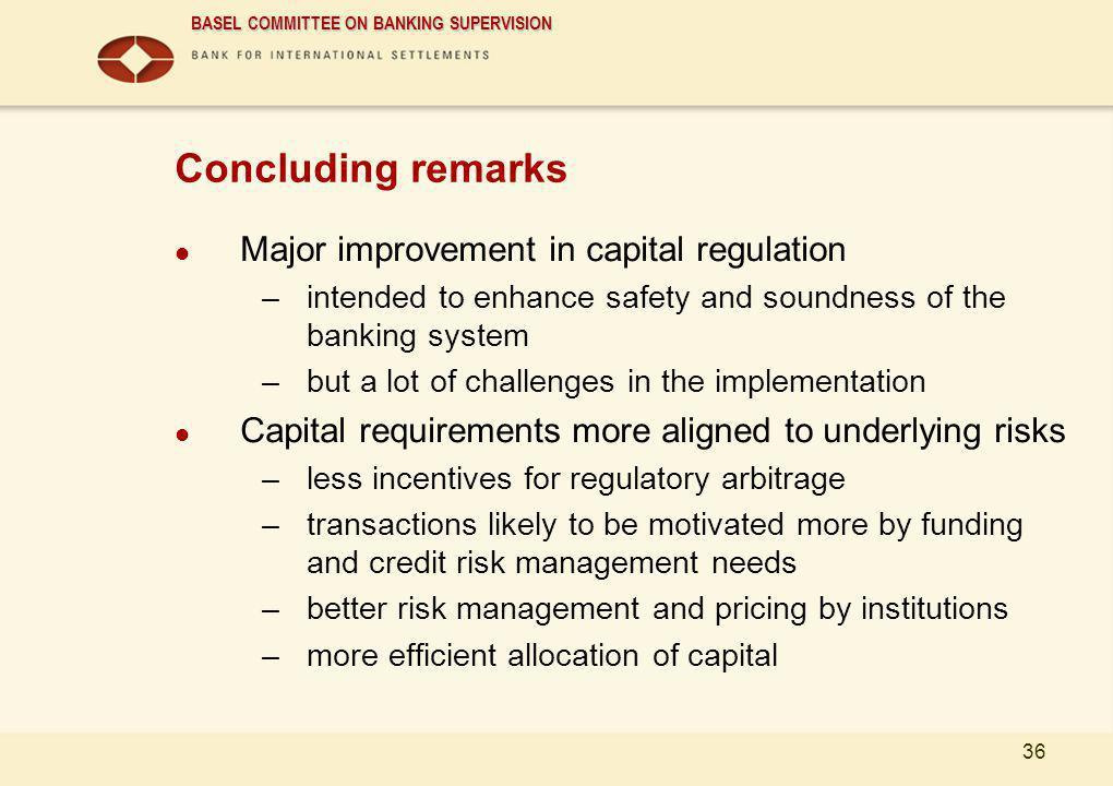 Concluding remarks Major improvement in capital regulation