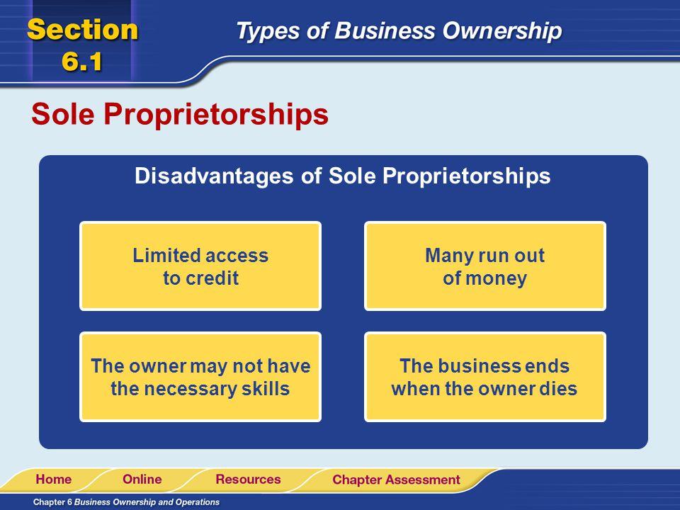 Sole Proprietorships Disadvantages of Sole Proprietorships