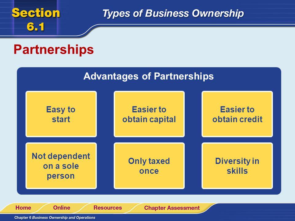 Partnerships Advantages of Partnerships Easy to start