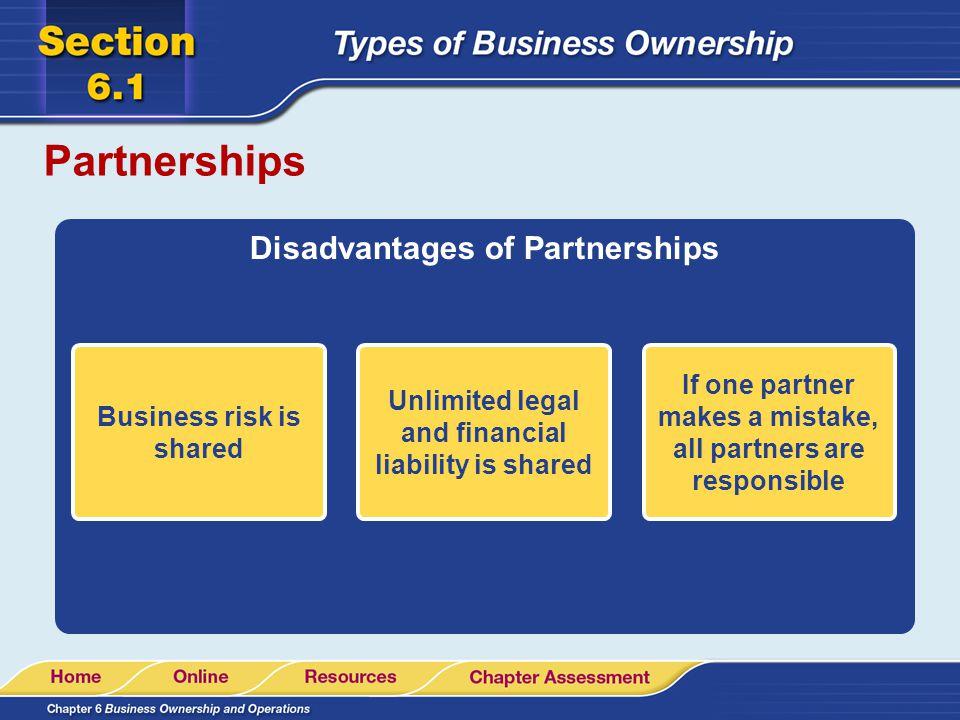 Partnerships Disadvantages of Partnerships