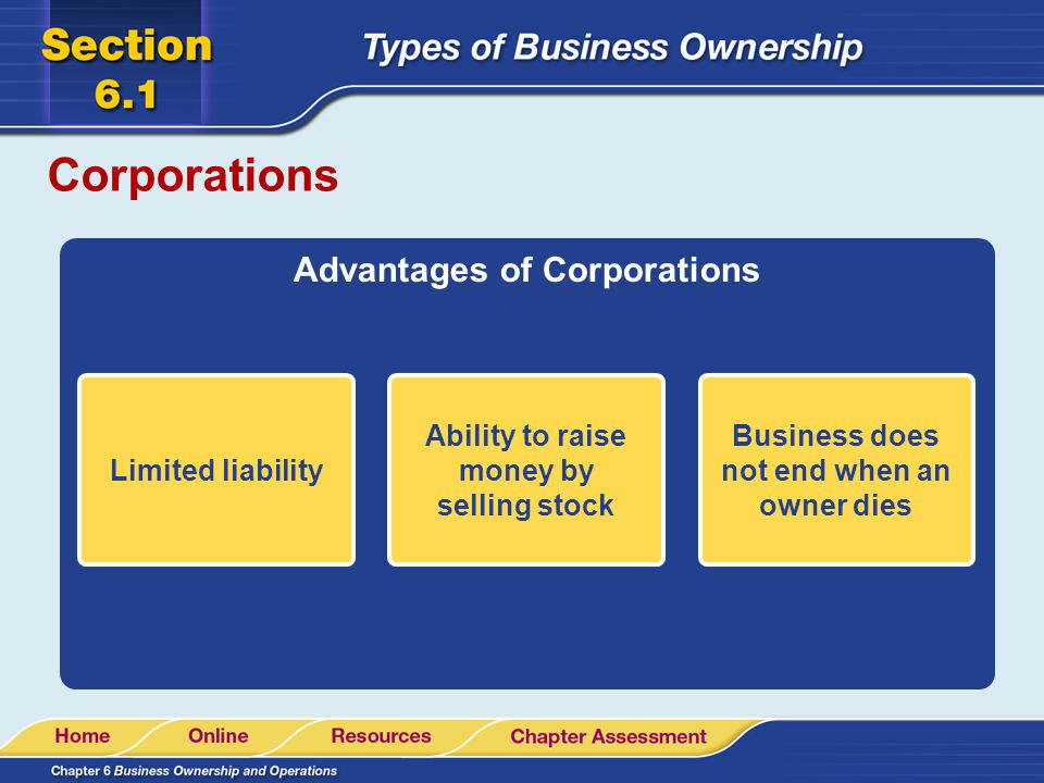 Corporations Advantages of Corporations Limited liability