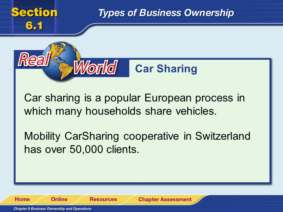 Car Sharing Car sharing is a popular European process in which many households share vehicles.
