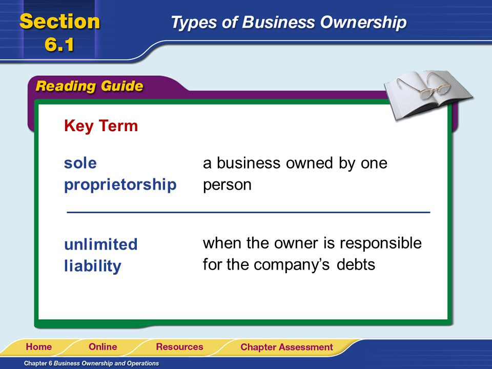 Key Term sole proprietorship. a business owned by one person.