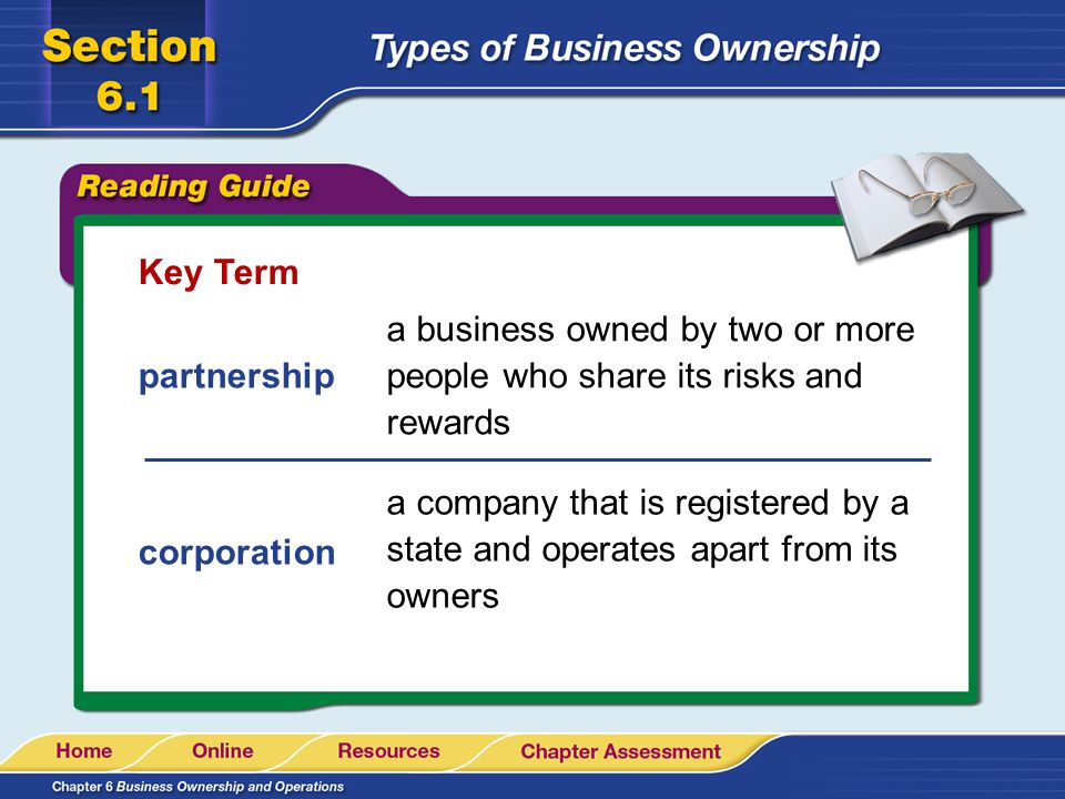 Key Term a business owned by two or more people who share its risks and rewards. partnership.
