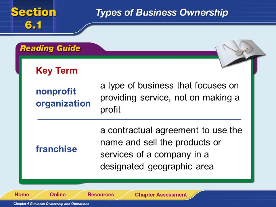 Key Term a type of business that focuses on providing service, not on making a profit. nonprofit organization.