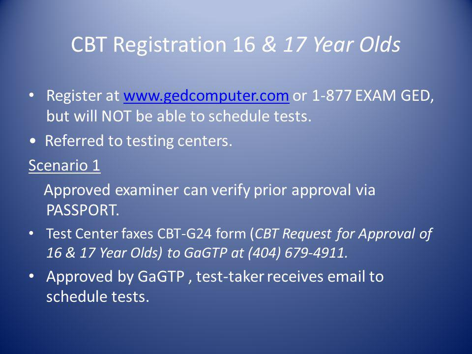 CBT Registration 16 & 17 Year Olds