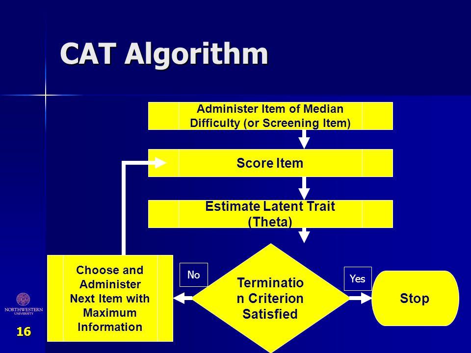 CAT Algorithm Score Item Estimate Latent Trait (Theta)
