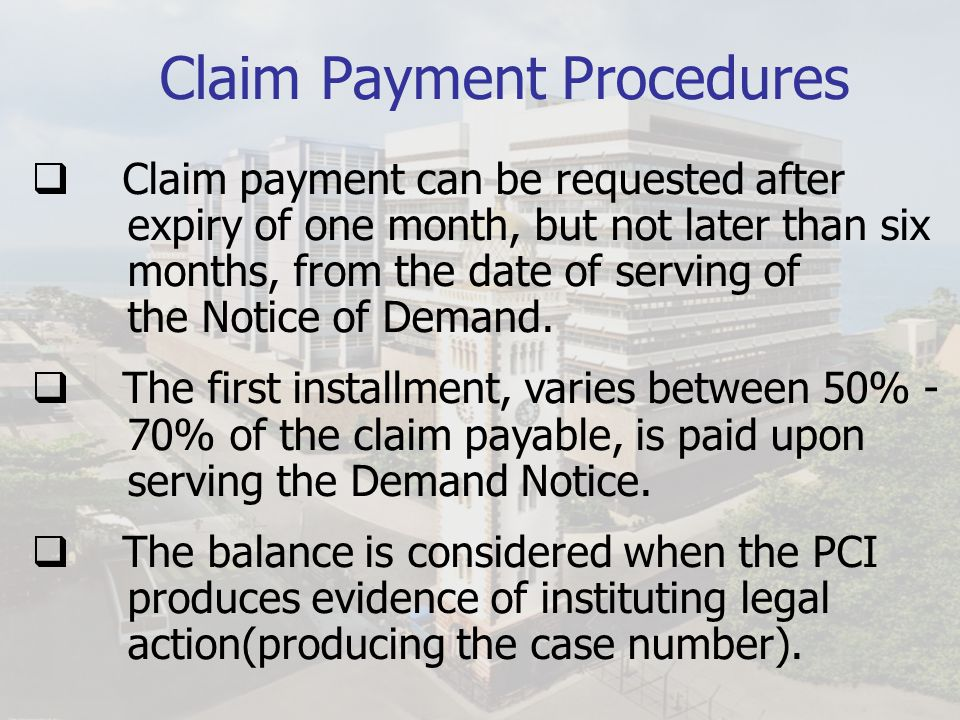 Claim Payment Procedures