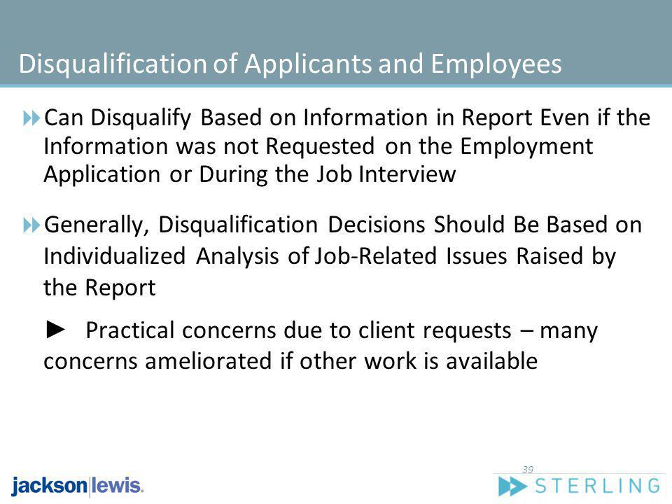 Disqualification of Applicants and Employees
