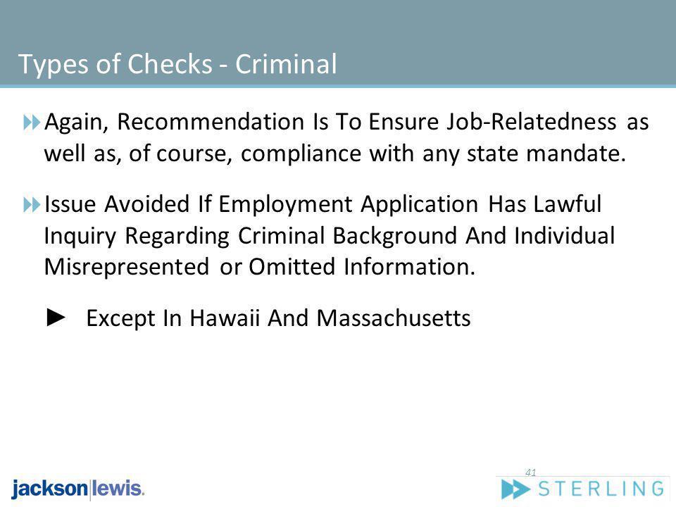 Types of Checks - Criminal