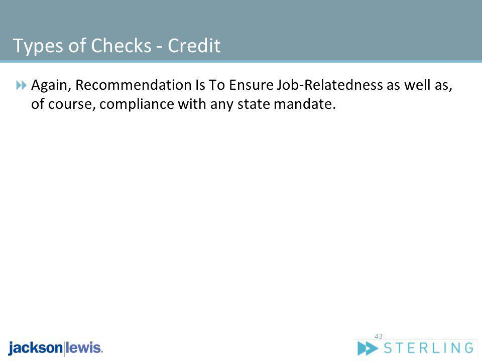 Types of Checks - Credit