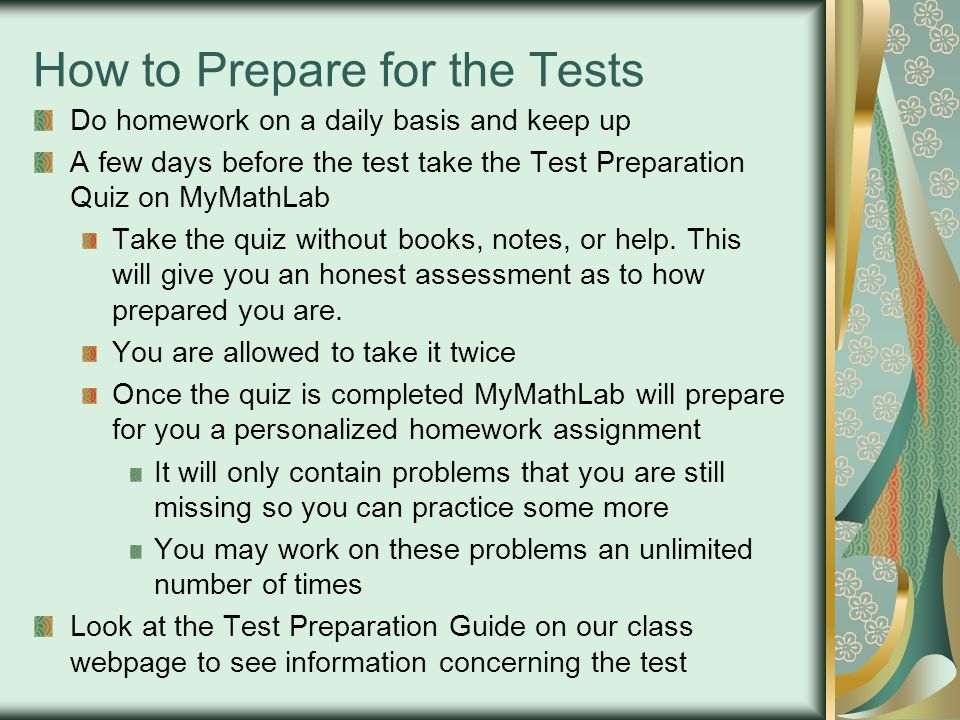 How to Prepare for the Tests