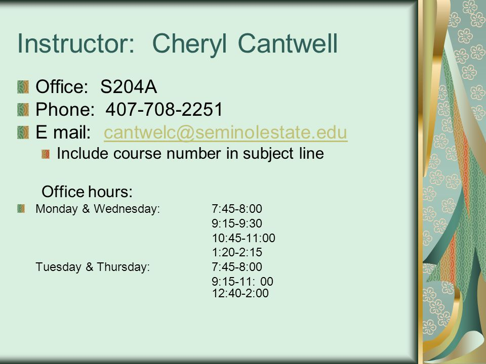 Instructor: Cheryl Cantwell