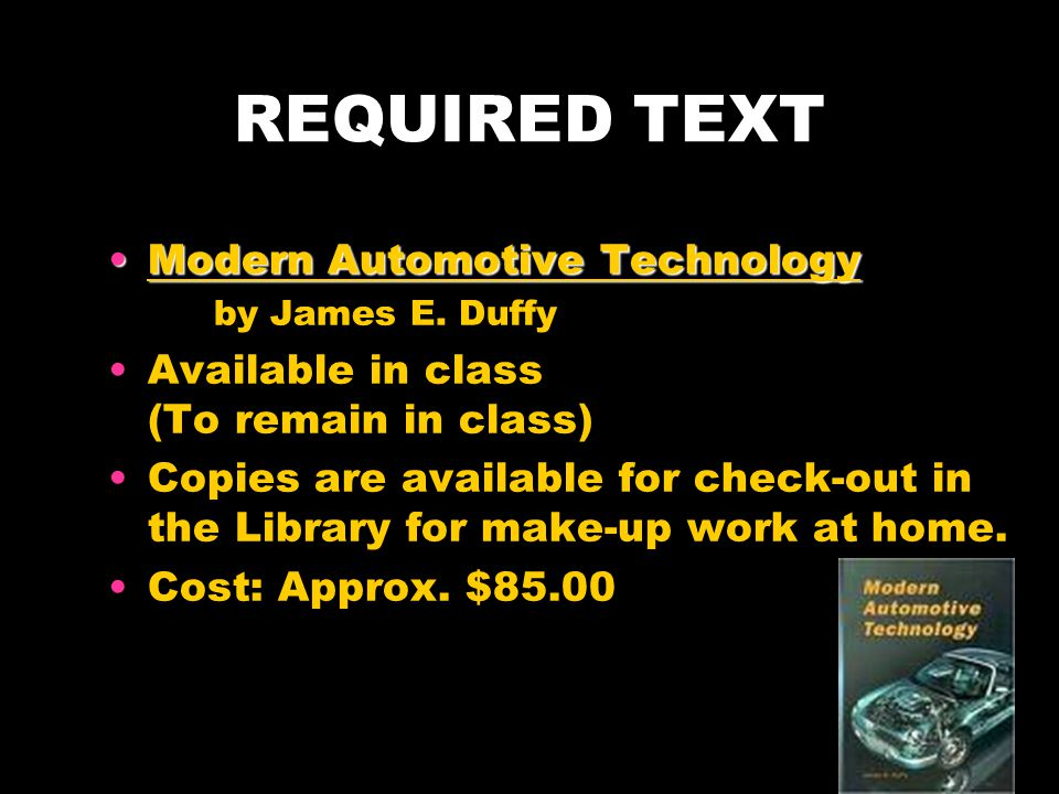 REQUIRED TEXT Modern Automotive Technology