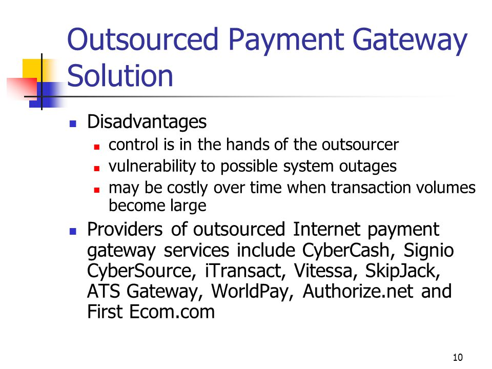 Outsourced Payment Gateway Solution