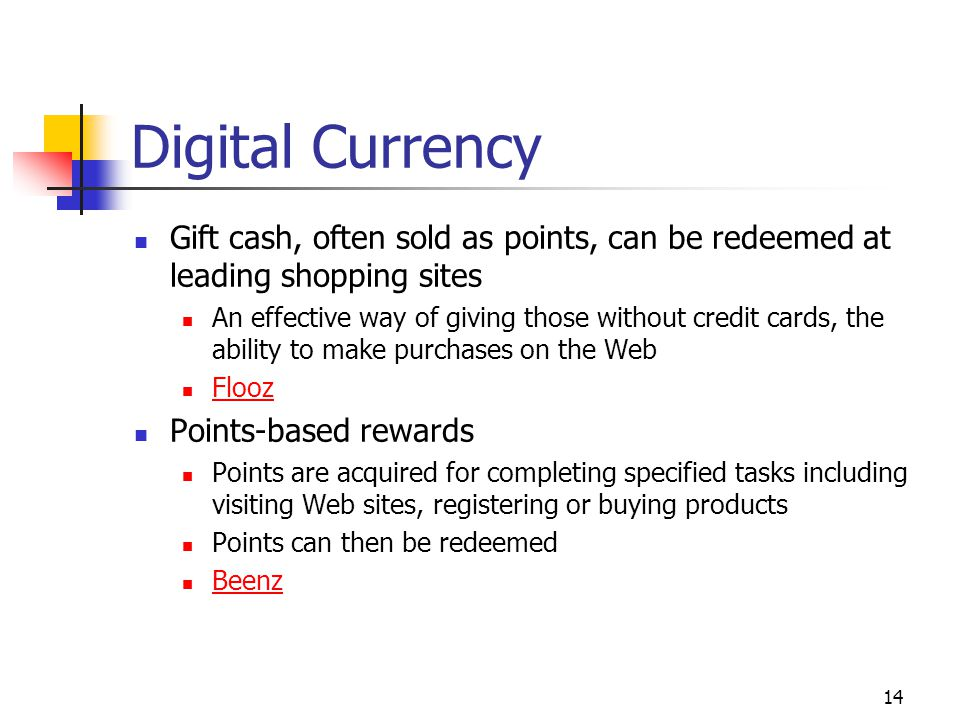 Digital Currency Gift cash, often sold as points, can be redeemed at leading shopping sites.