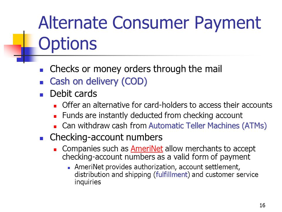 Alternate Consumer Payment Options