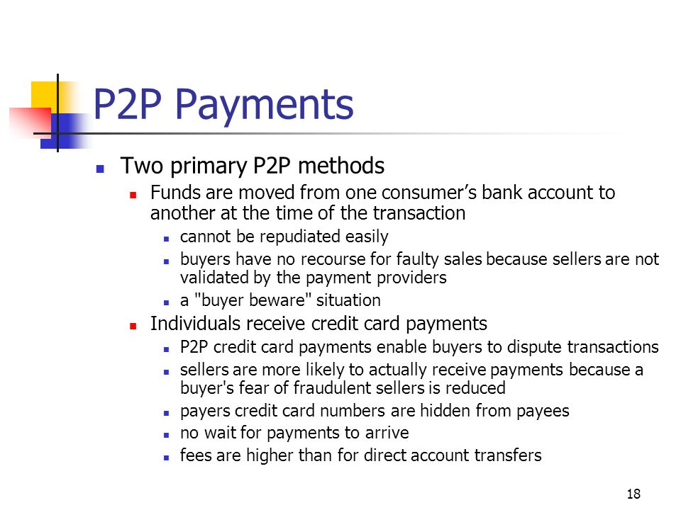 P2P Payments Two primary P2P methods