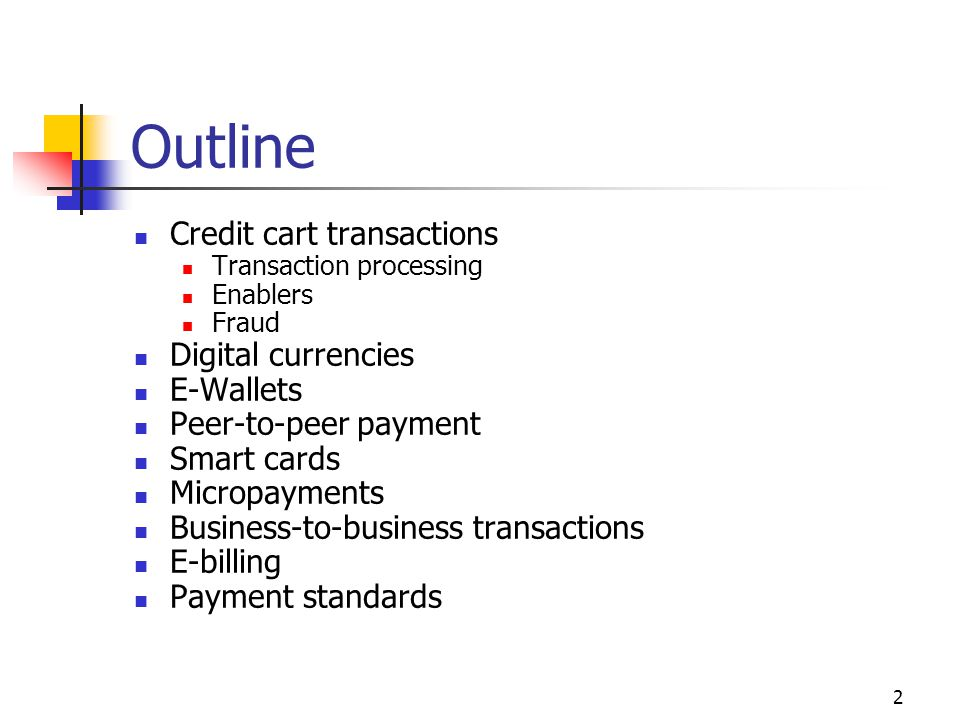 Outline Credit cart transactions Digital currencies E-Wallets
