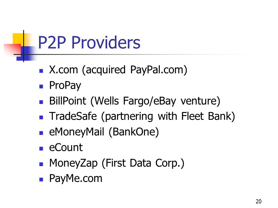 P2P Providers X.com (acquired PayPal.com) ProPay