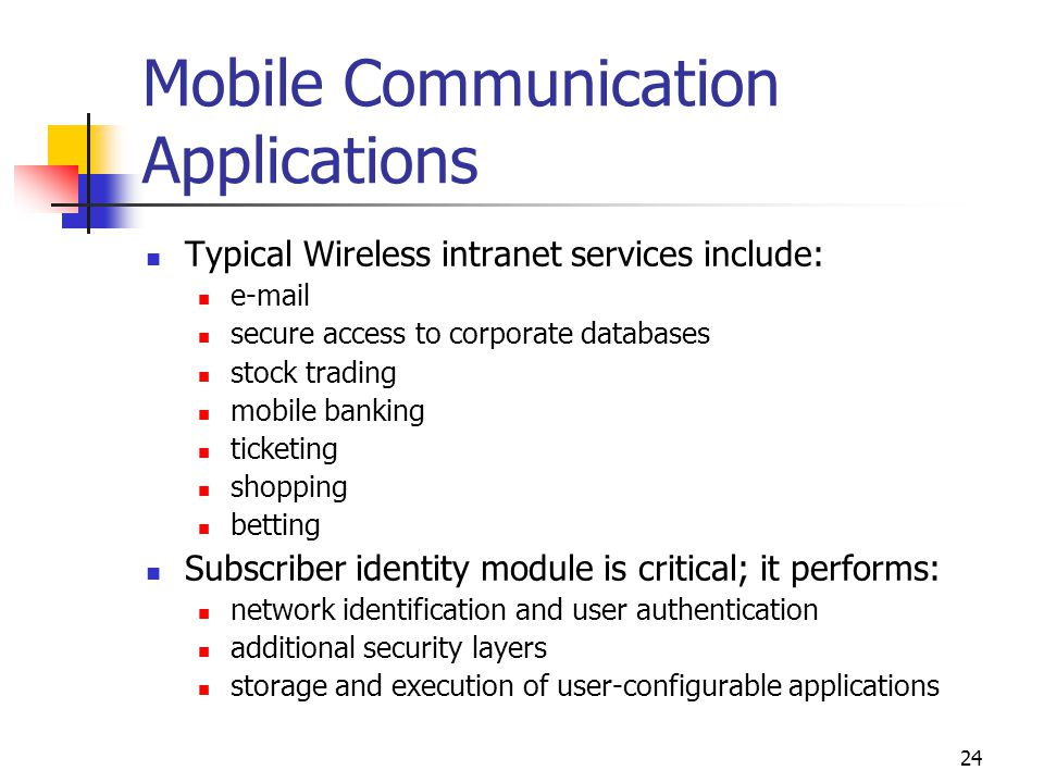 Mobile Communication Applications