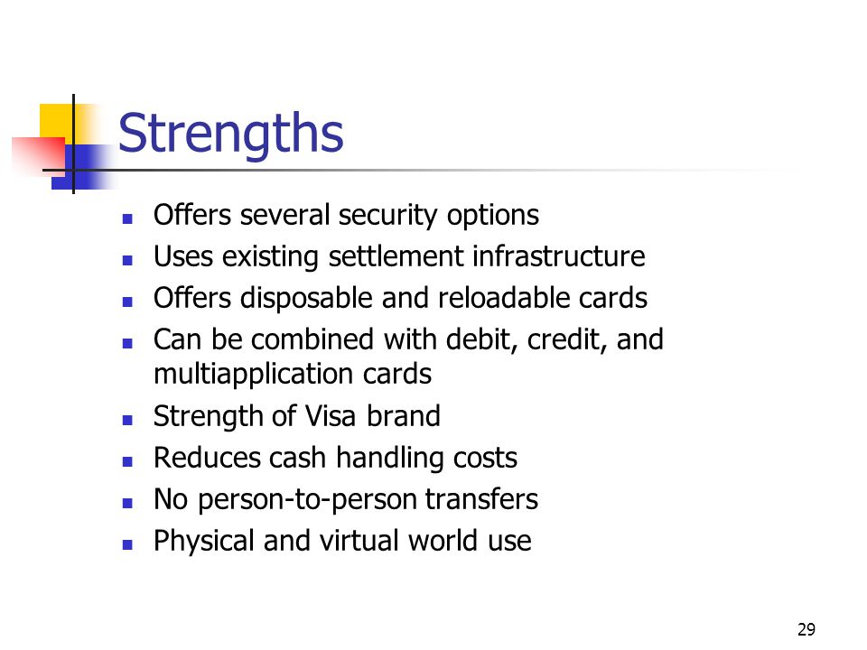 Strengths Offers several security options