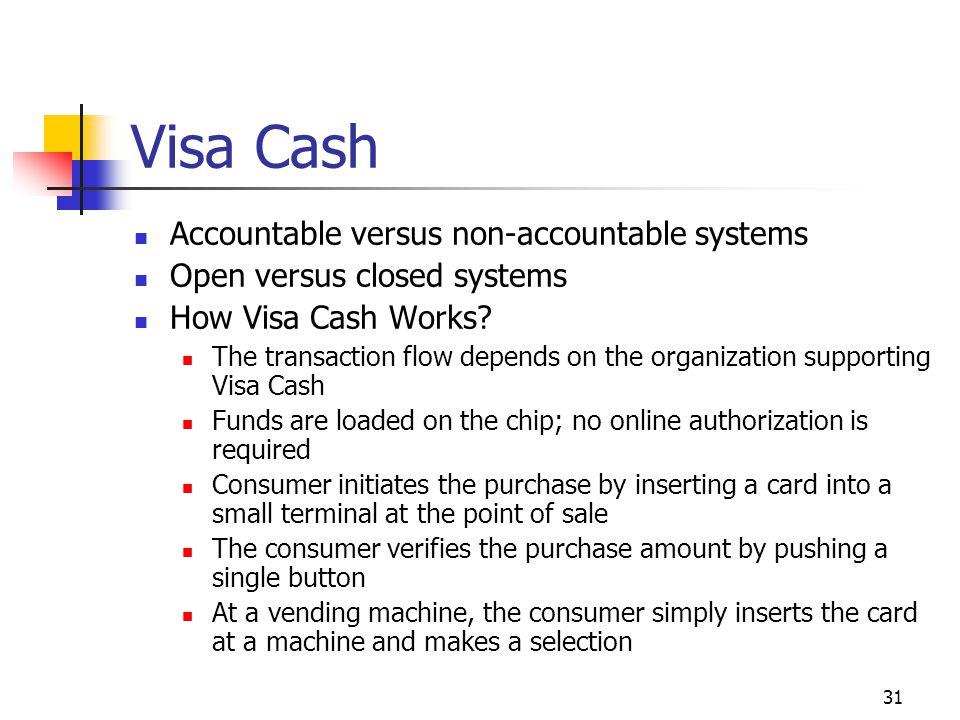 Visa Cash Accountable versus non-accountable systems