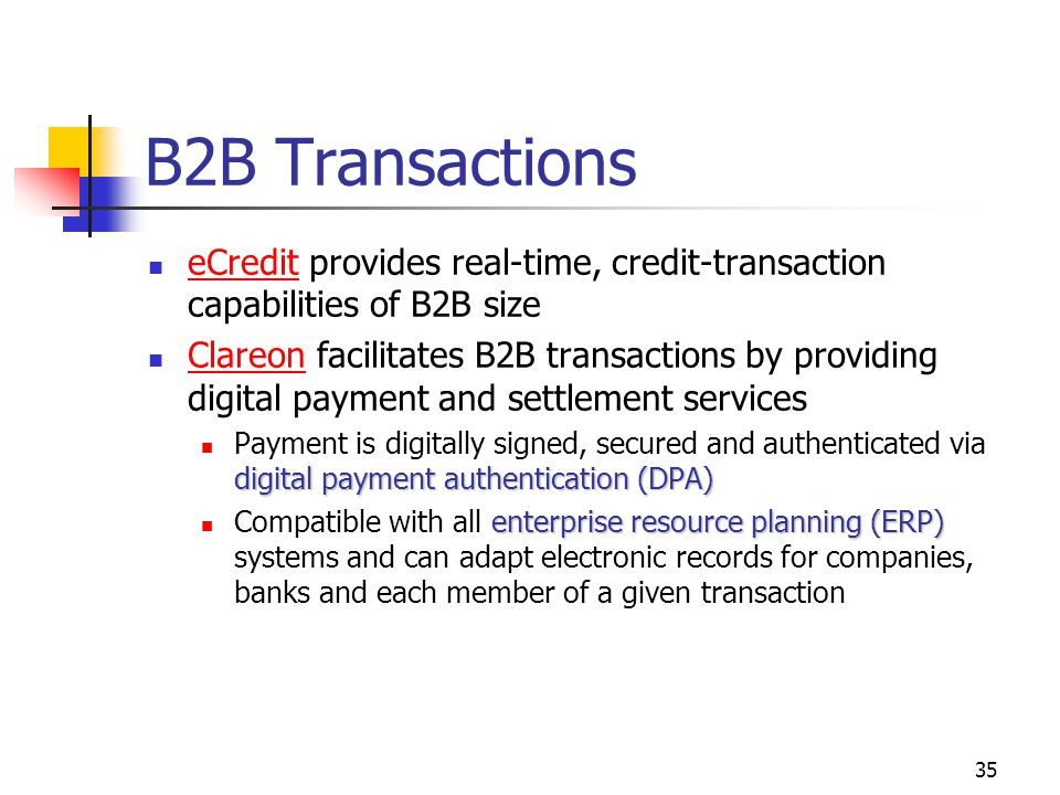 B2B Transactions eCredit provides real-time, credit-transaction capabilities of B2B size.