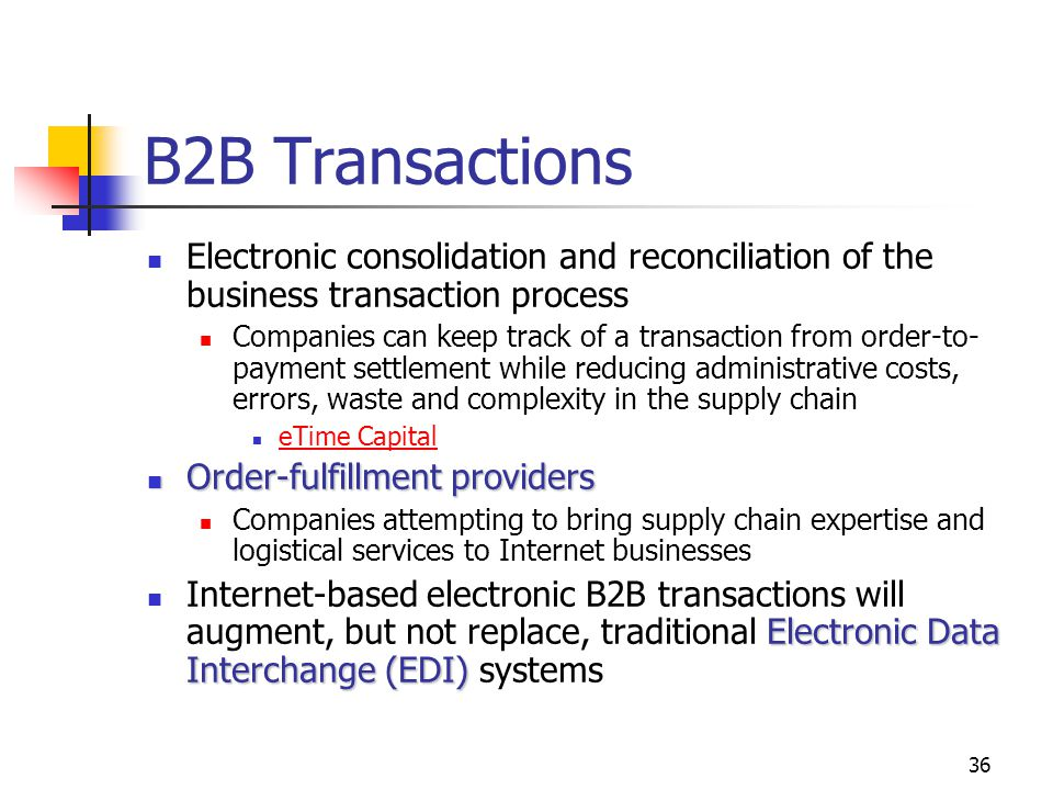 B2B Transactions Electronic consolidation and reconciliation of the business transaction process.