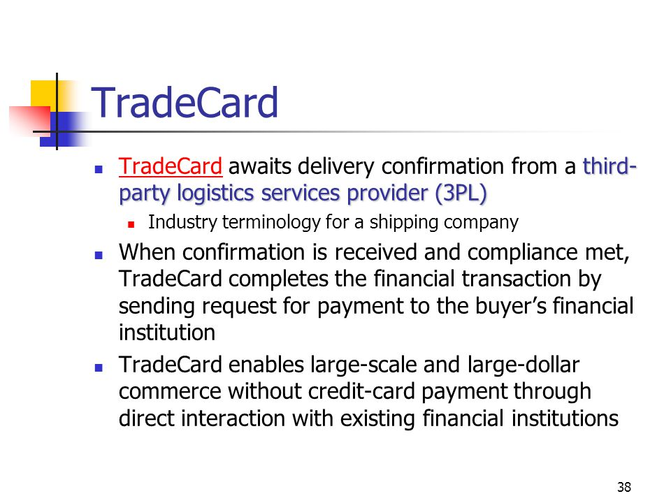TradeCard TradeCard awaits delivery confirmation from a third-party logistics services provider (3PL)