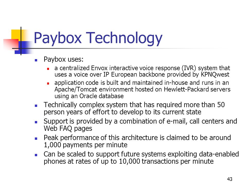 Paybox Technology Paybox uses: