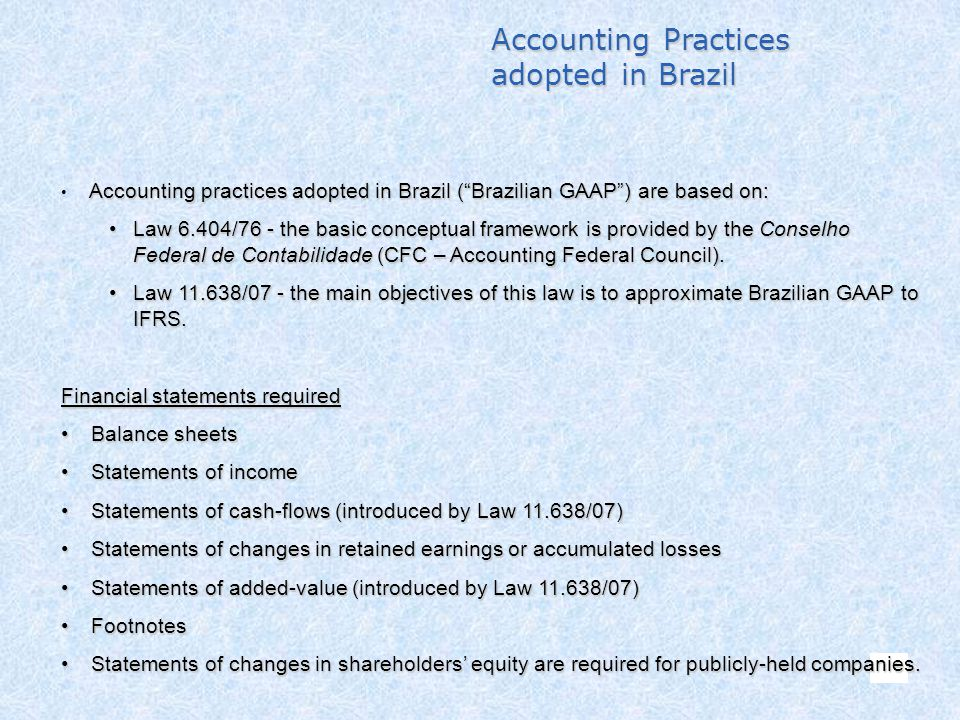 Accounting Practices adopted in Brazil