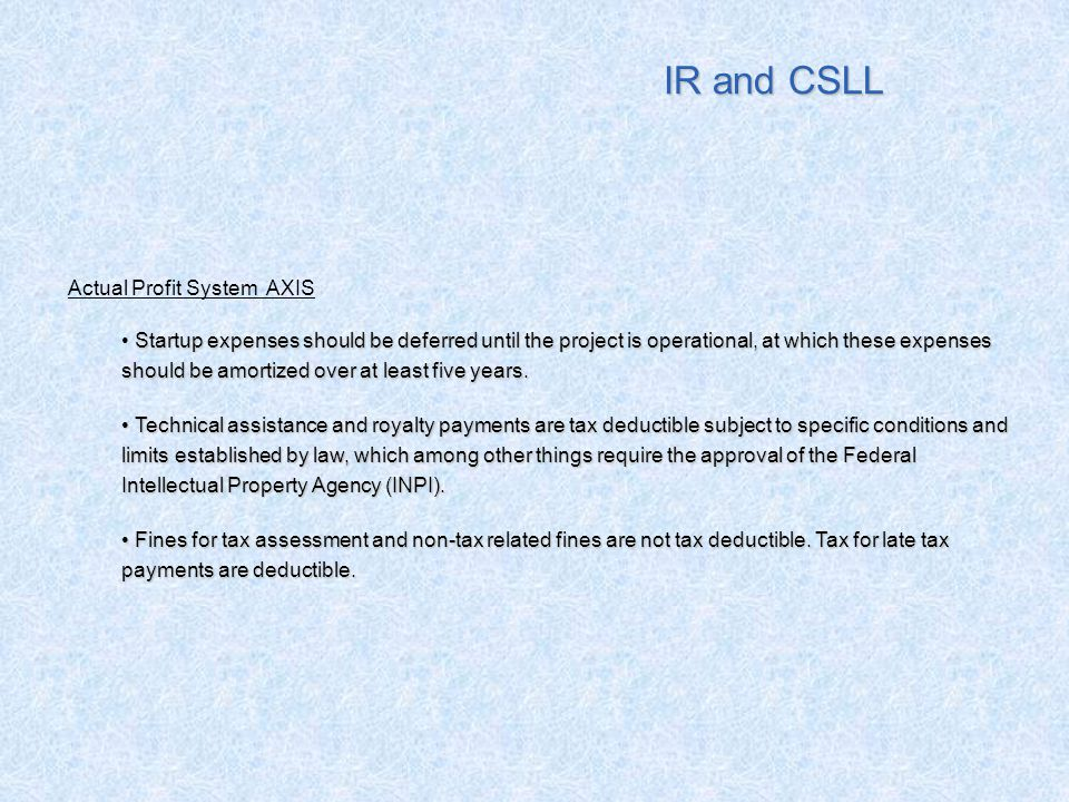 IR and CSLL Actual Profit System AXIS