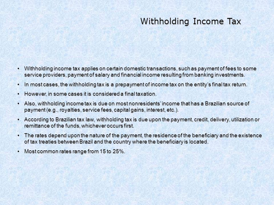 Withholding Income Tax